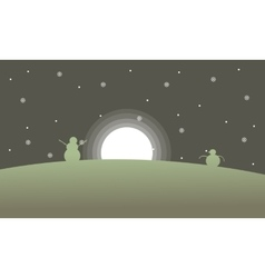 Snowman with moon scenery at night vector image