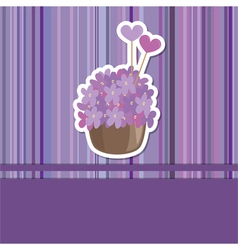 Card with flower basket vector