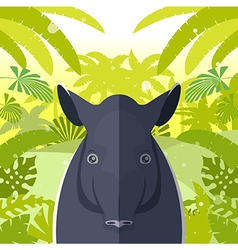 Tapir on the jungle background vector