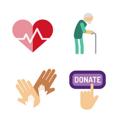 Volunteer icons charity donation set vector