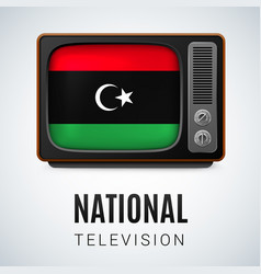Round glossy icon of libya vector
