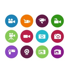 Camera circle icons on white background vector