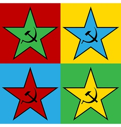Pop art communist stars vector
