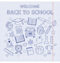 Scrap set back to school on the notebook sheet vector