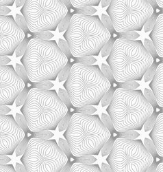 Slim gray small hatched trefoils forming stars vector