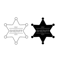 Wild west sheriff star contour black vector