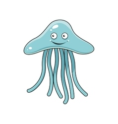 Cartoon blue jellyfish with long tentacles vector image