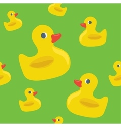 Cute seamless pattern with yellow rubber duck vector