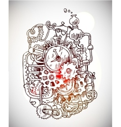 Sketch steampunk mechanism vector