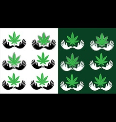 Cannabis marijuana leaf peaceful dove symbol vector