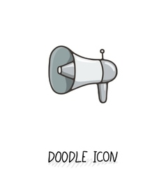 Doodle icon with megaphone speaker vector