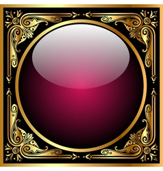 Abstract background with glass ball and golden pat vector image