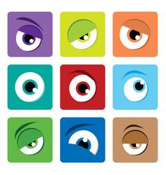Adorable color cartoon eye expression art vector