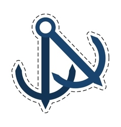 anchor nautical travel maritime cut line vector image