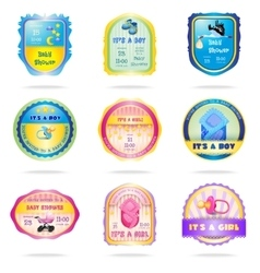 Baby shower emblems vector image