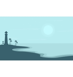 Beach with light house scenery silhouettes vector image