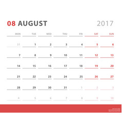 calendar planner 2017 august week starts monday vector image vector image