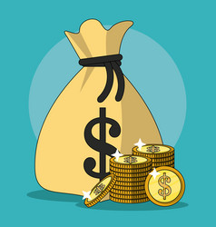 Colorful background with money bag and stacked vector
