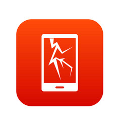 Cracked phone icon digital red vector