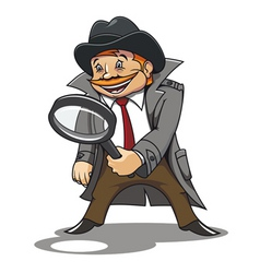 detective with magnifying glass for cartoon design vector image