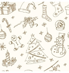 Doodle christmas seamless pattern vintage vector