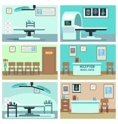 Empty hospital doctor office surgery room vector