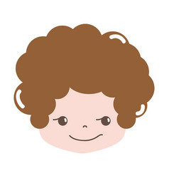 Full color boy head with curly hair and rogue face vector