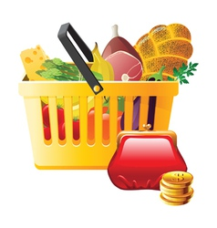 full shopping basket and wallet - saving money vector image