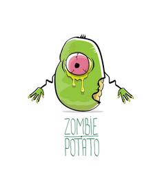 Funny cartoon cute green zombie potato vector