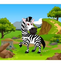 funny zebra cartoon in the jungle vector image vector image