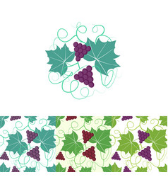 Grape circle logo and seamless pattern vector