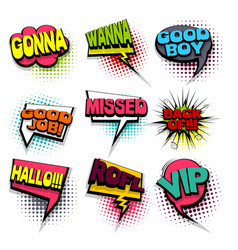 hello rofl set colored comics book balloon vector image vector image