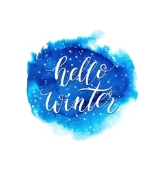 Hello winter text on blue watercolor splash vector image