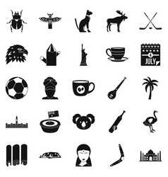 Landmark icons set simple style vector