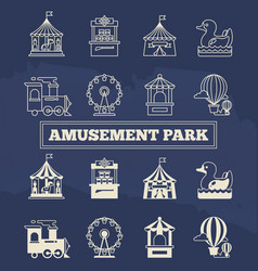 Luna park thin line and silhoette icons set vector