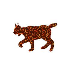 Lynx wildlife color silhouette animal vector
