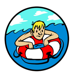 man clinging to life preserver cartoon vector image vector image