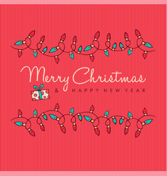 merry christmas and new year red decoration card vector image