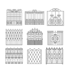 Metal grid fencing set of different designs vector