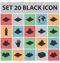 Mountains massive black icons in set collection vector