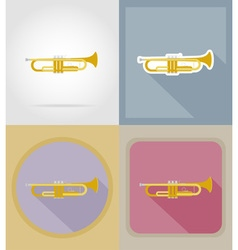 music items and equipment flat icons 14 vector image
