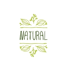 Natural product label on white background vector