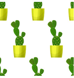 Opuntia cactus - floral seamless pattern vector