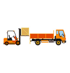 Orange forklift loading truck flat vector