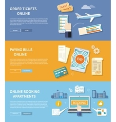 Pay bills booking apartments order ticket vector