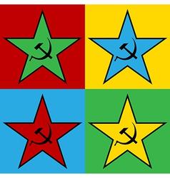 Pop art communist stars vector