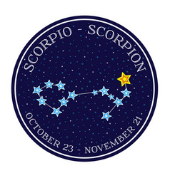 scorpion zodiac constellation in space round icon vector image