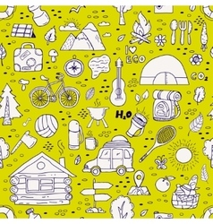 Seamless pattern of camping equipment symbols vector