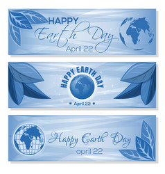 set blue banners for earth day april 22 vector image