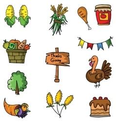 Set of thanksgiving doodle art vector